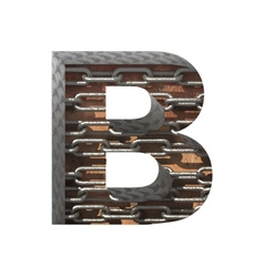 Metal cutted figure b paste to any background vector