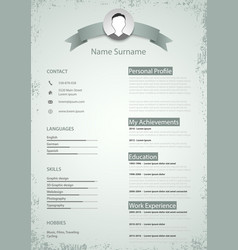 professional colored resume cv in retro style vector image vector image