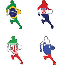 basketball colors of Brazil Croatia Iran Slovenia vector image vector image