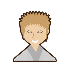 Cartoon japanese man wearing traditional dress vector