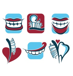 healthy smile dentist collection vector image vector image