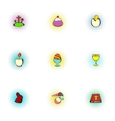 Holiday Easter icons set pop-art style vector image