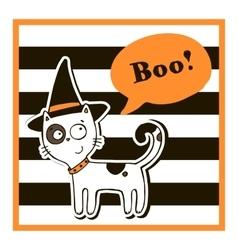 Halloween with cat vector image vector image