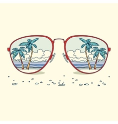 Reflection of the beach palm trees beach in vector image