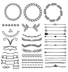 set of hand drawn decorative symbols vector image vector image