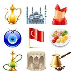 Turkey travel icons set vector image