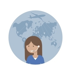 Woman Dispatcher and Map of the World vector image vector image