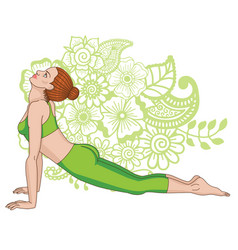 women silhouette upward dog facing yoga pose vector image vector image