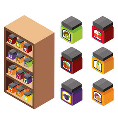 3d design for jams on the shelves vector