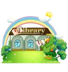 A green parrot reading outside the library vector
