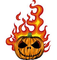 a scary flaming halloween pumpkin jack o vector image