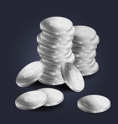 a stack of silver coins vector image