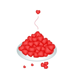 A White Plate of Lovely Little Hearts vector