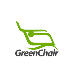 abstract green chair logo concept design template vector image