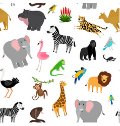 Africa animals pattern african cute drawing vector