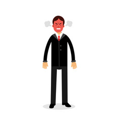 Angry man with red face blowing steam coming out vector