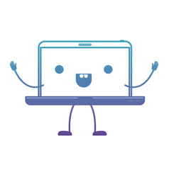 animated kawaii laptop computer in degraded blue vector image