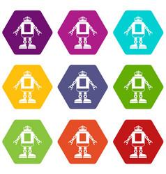 automation machine robot icon set color hexahedron vector image