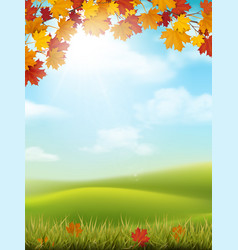 autumn landscape grass hill maple branch vector image