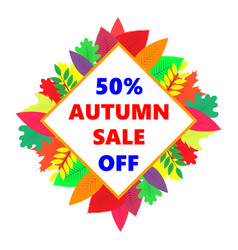 Autumn sale design banner with colored vector