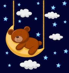 Baby bear cartoon sleeping on the moon vector image