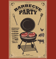 bbq party poster barbecue and grill design vector image
