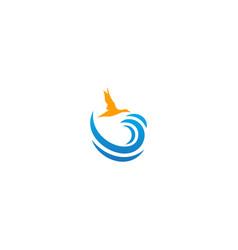 bird fly on above ocean wave logo vector image