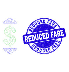 Blue scratched reduced fare seal and web mesh vector