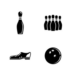 Bowling simple related icons vector