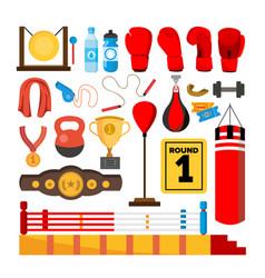boxing equipment tools set box accessories vector image