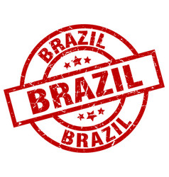 brazil red round grunge stamp vector image vector image