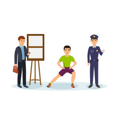 businessman fitness trainer police officer vector image