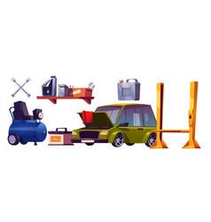 car repair service stuff and automobile set vector image