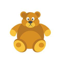 Cartoon chubby brown bear with funny face isolated vector