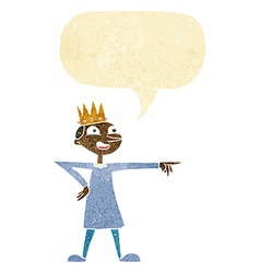 cartoon pointing prince with speech bubble vector image