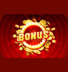 Casino bonus label frame golden banner border vector