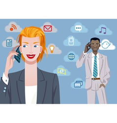 Caucasian Businesswoman And Black Businessman vector image