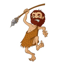 Caveman with spear vector