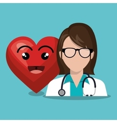 Character doctor femalewith sthetoscope and heart vector