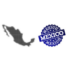 Collage of halftone dotted map of mexico and vector