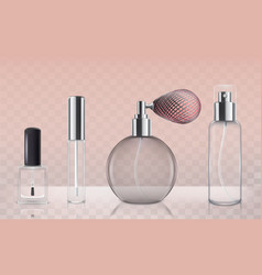 Collection of empty glass cosmetic bottles in vector