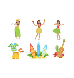 collection traditional symbols hawaiian vector image