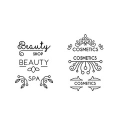 cosmetic beauty spa linear logo template badge vector image