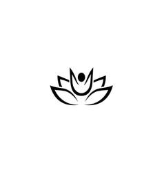 creative body meditation spa leaves logo design vector image
