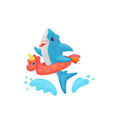 cute cartoon bashark swimming in water with vector image