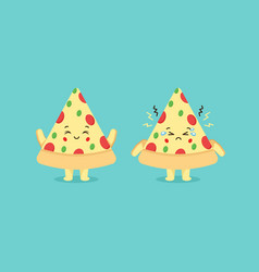 Cute pizza characters with smiling and sad vector