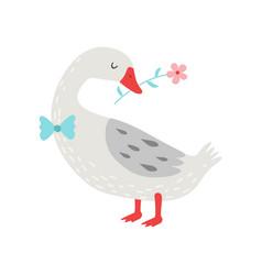 Cute white goose holding flower in its beak vector