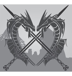 dragons and swords vector image