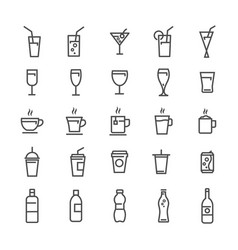 Drinks and beverages line icons set vector