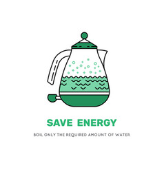 electric kettle save electricity icon vector image